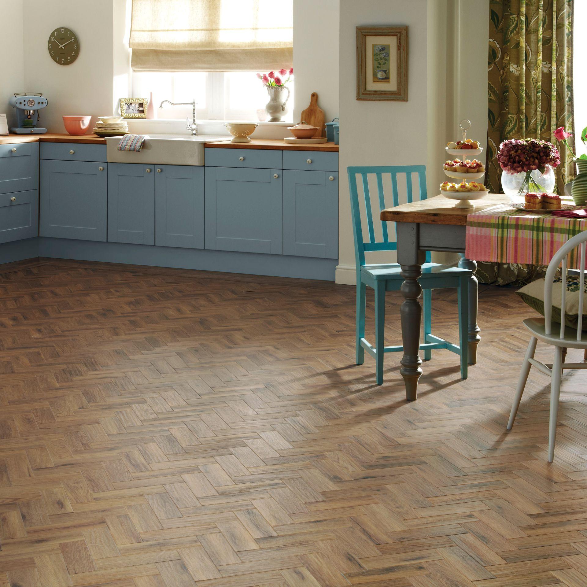 Parquet Effect Vinyl Flooring   Easy To Fit Parquet Floors   Kitchen ...