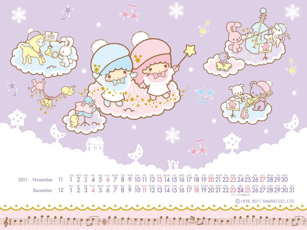 【2010.11】【Winter】Calendar Wallpaper ★Little Twin Stars