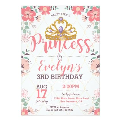 Princess birthday invitation princess party princess birthday invitation princess party birthday invitations diy customize personalize card party gift stopboris Images