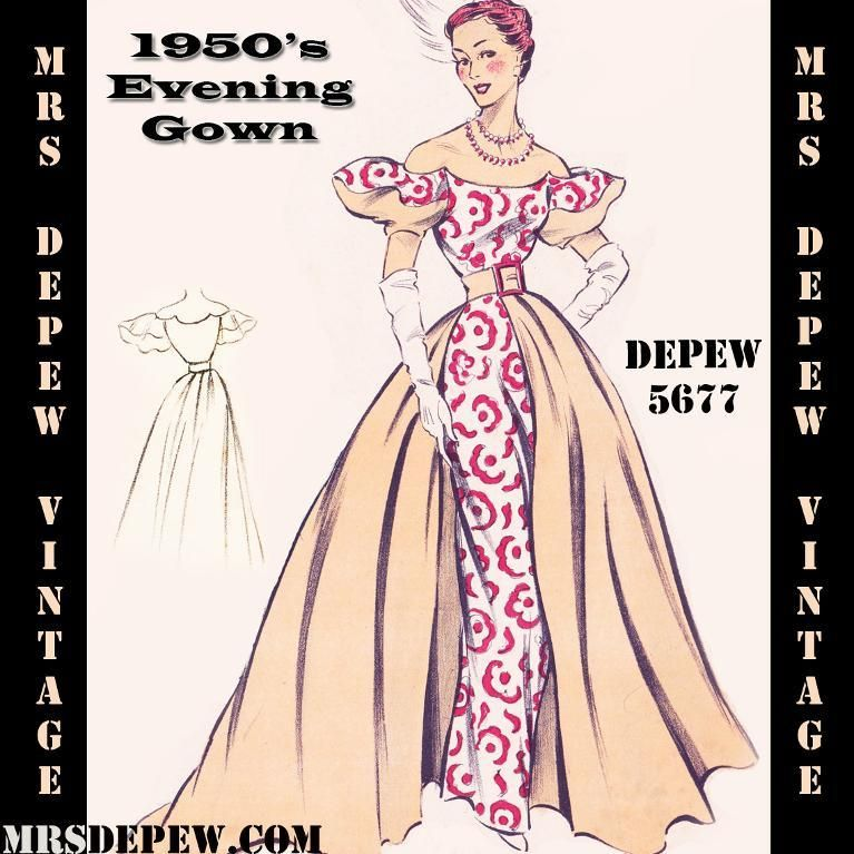 Sewing 1950s Style Ball Gown Pattern 5677 by Mrs