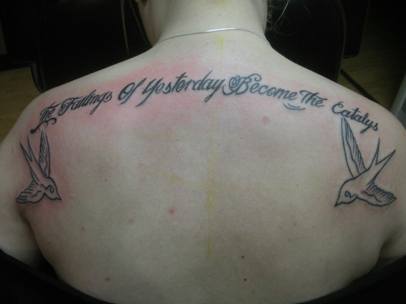 Fine line lettering with swallow back Tattoo! Fine line