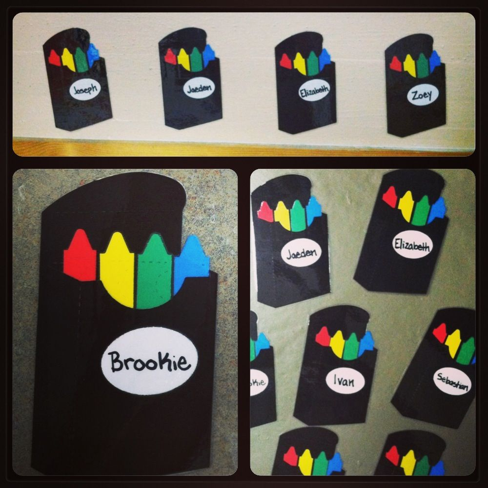 Classroom Hook Ideas ~ Crayon box name tags for above each student s coat hook