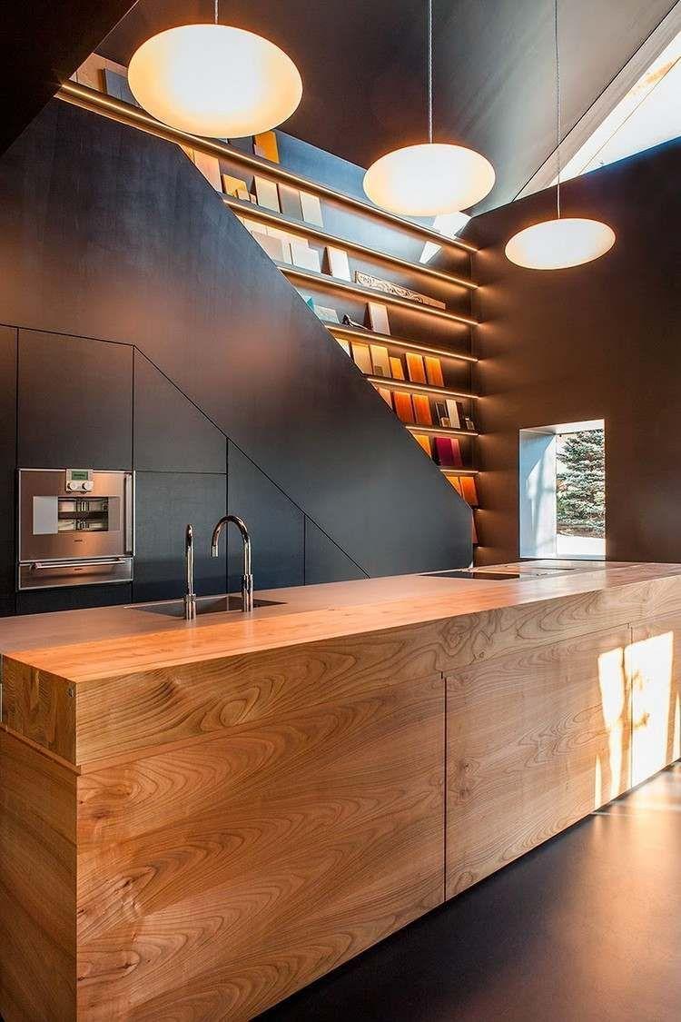 Ilot Cuisine Moderne Design Bois Massif Suspensions Kitchens