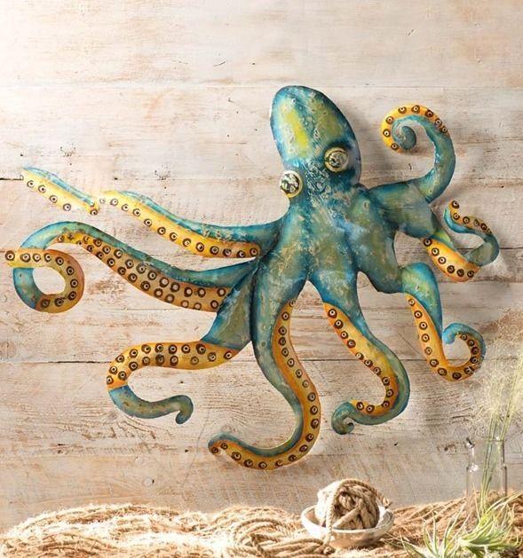 Nautical Coastal Decor Large Octopus Metal Wall Sculpture Garden Art