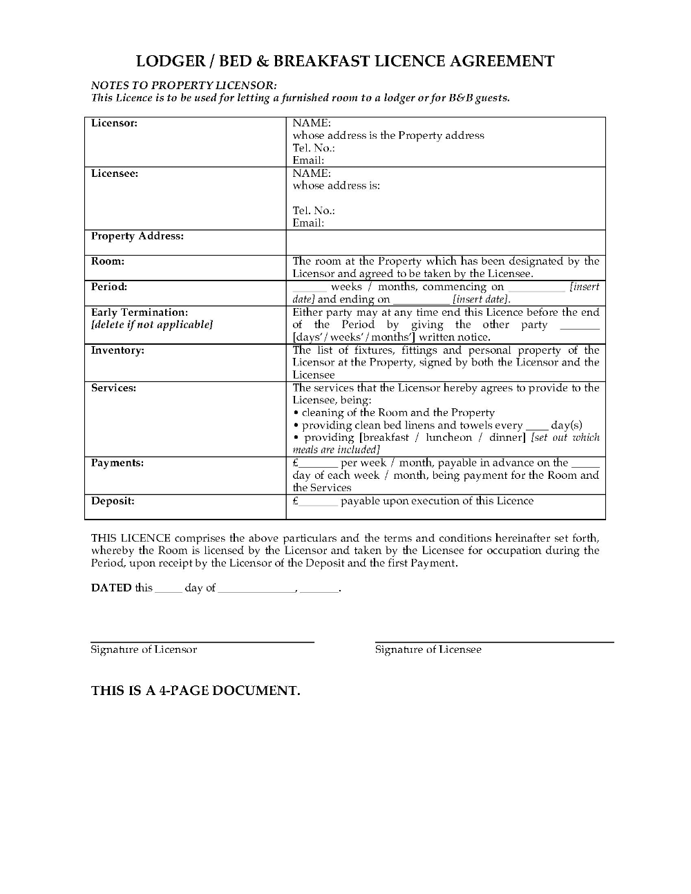 Uk Bed And Breakfast Licence Agreement Legal Forms And Business Regarding Landlord Lodger Agreement Template 10 Profe Being A Landlord Legal Forms Templates