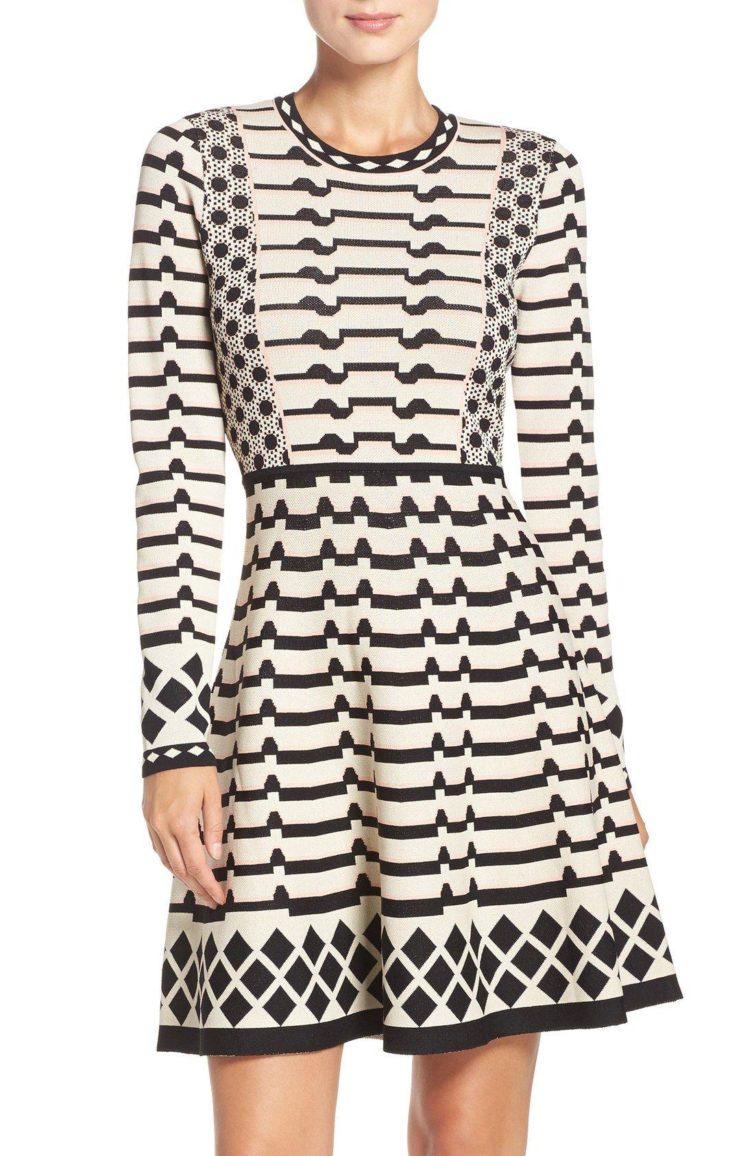 Geometric knit fit u flare dress alllllll the clothes