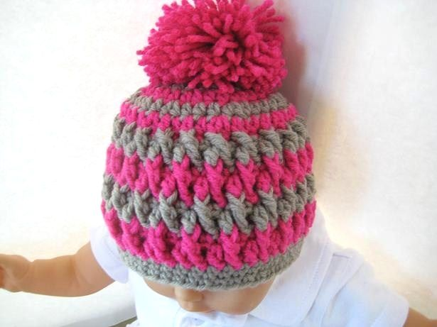 Pom Pom Beanie for Boy or Girl - Crochet Pattern - Newborn, Baby to ...