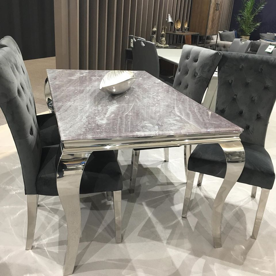 Fabien Grey Marble Effect Glass 120cms Dining Table In 2020 Dining Table Living Furniture Grey Marble