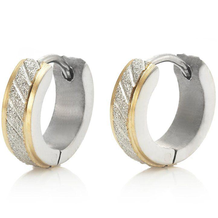 Sparkling Stainless Steel Mens Hoop Earrings Silver Gold ...
