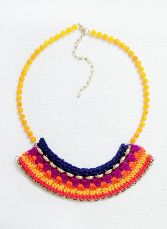 Crocheted Statement Bib Necklace Sunset by LoveNikita on Etsy, $15.50