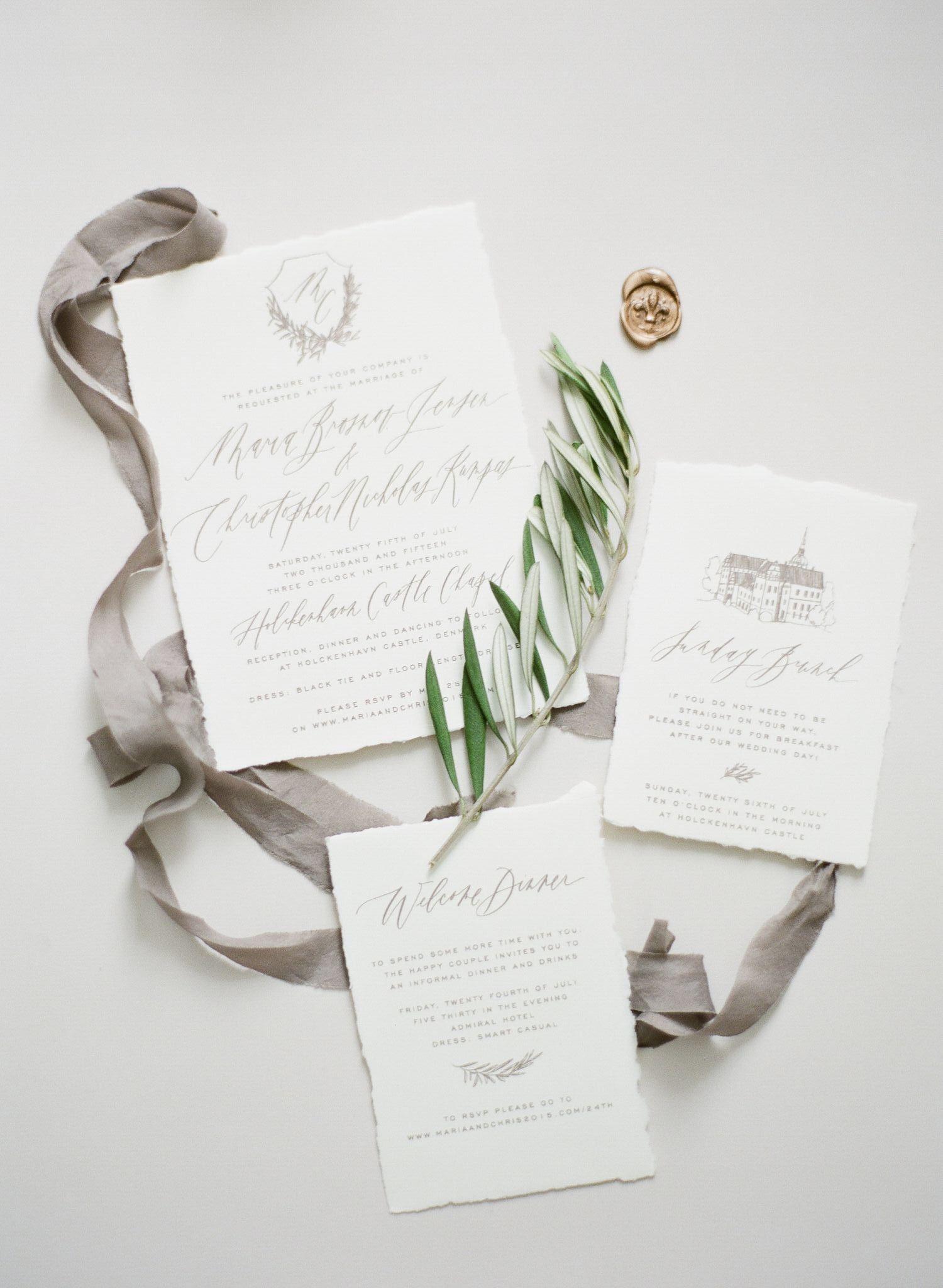 Taupe wedding invitations on handmade paper // destination wedding ...