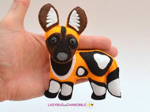 Felt African Wild Dog Stuffed Felt Wild Dog Magnet Or Ornament