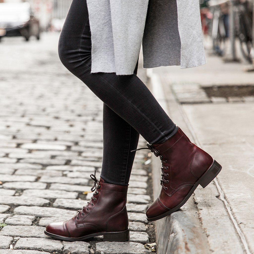Burgundy   Women's lace up boots