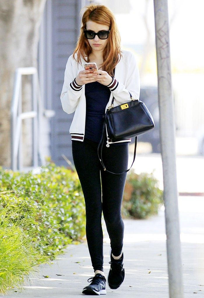 4767220f20ba Emma Roberts Just Styled Her Leggings in the Cutest Way via @WhoWhatWear