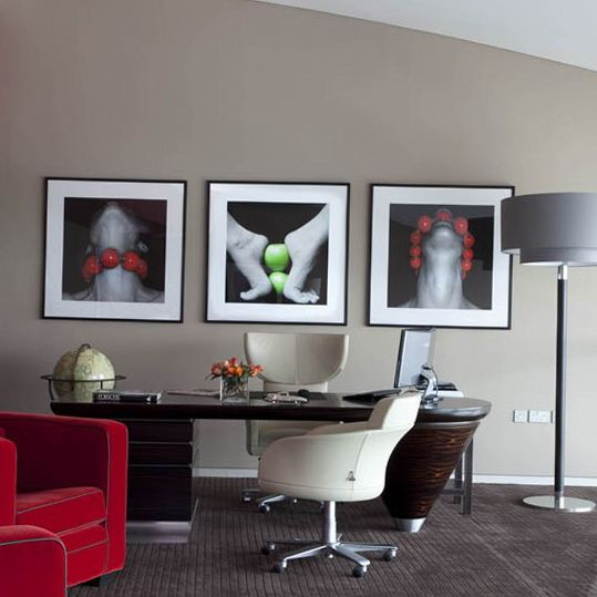 Colors For A Small Home Office: Love The Colors...just A Touch Of Red For Pizzazz. Would