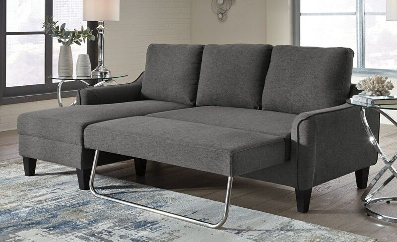 11502 71 2 Pc Jarreau Gray Fabric Pull Out Chaise Sleeper Area