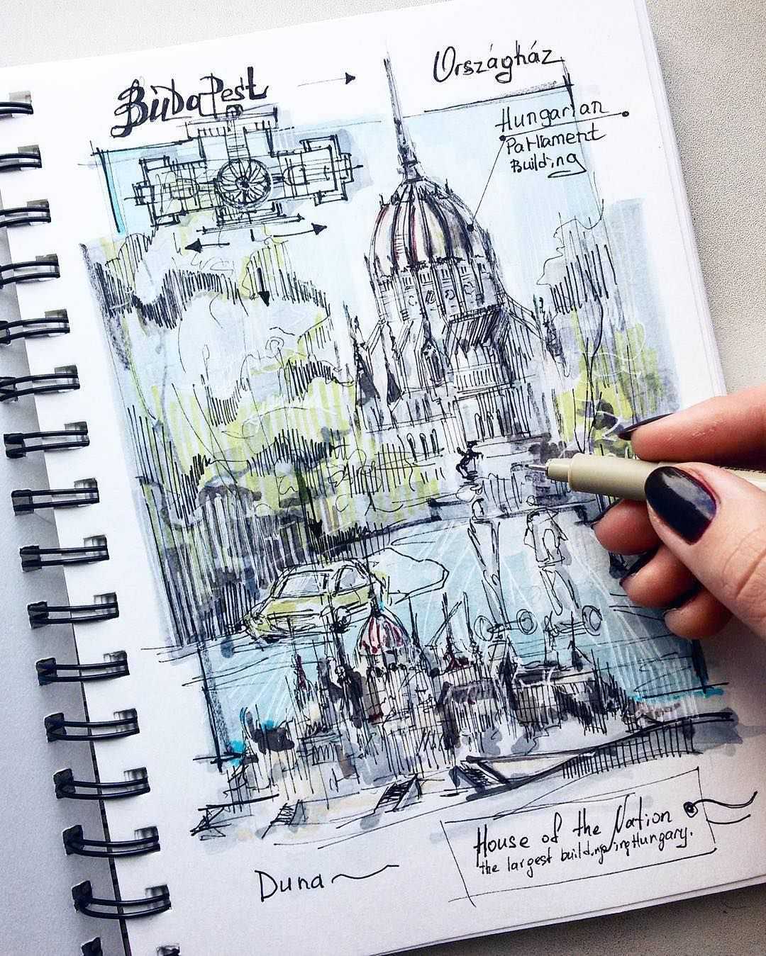 Budapest Architectural Sketch Sketch Book Architecture Sketch