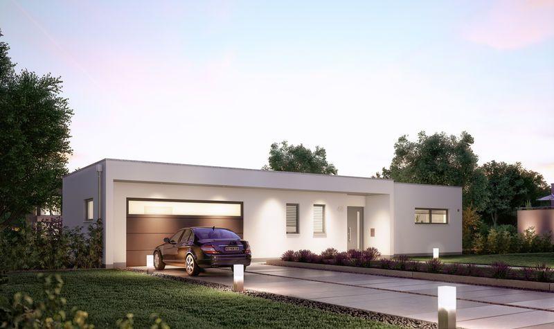 Haus bauen massiv mit keller  Massivhaus Kern-Haus Bungalow Purea Eingangsseite am Abend ...