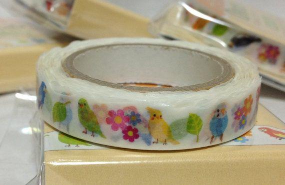 Japanese Washi Tape Masking Tape Deco Tape Paper Tape Birds Budgie Budgerigar Parakeet Cockatiel Java Sparrow  Slim type