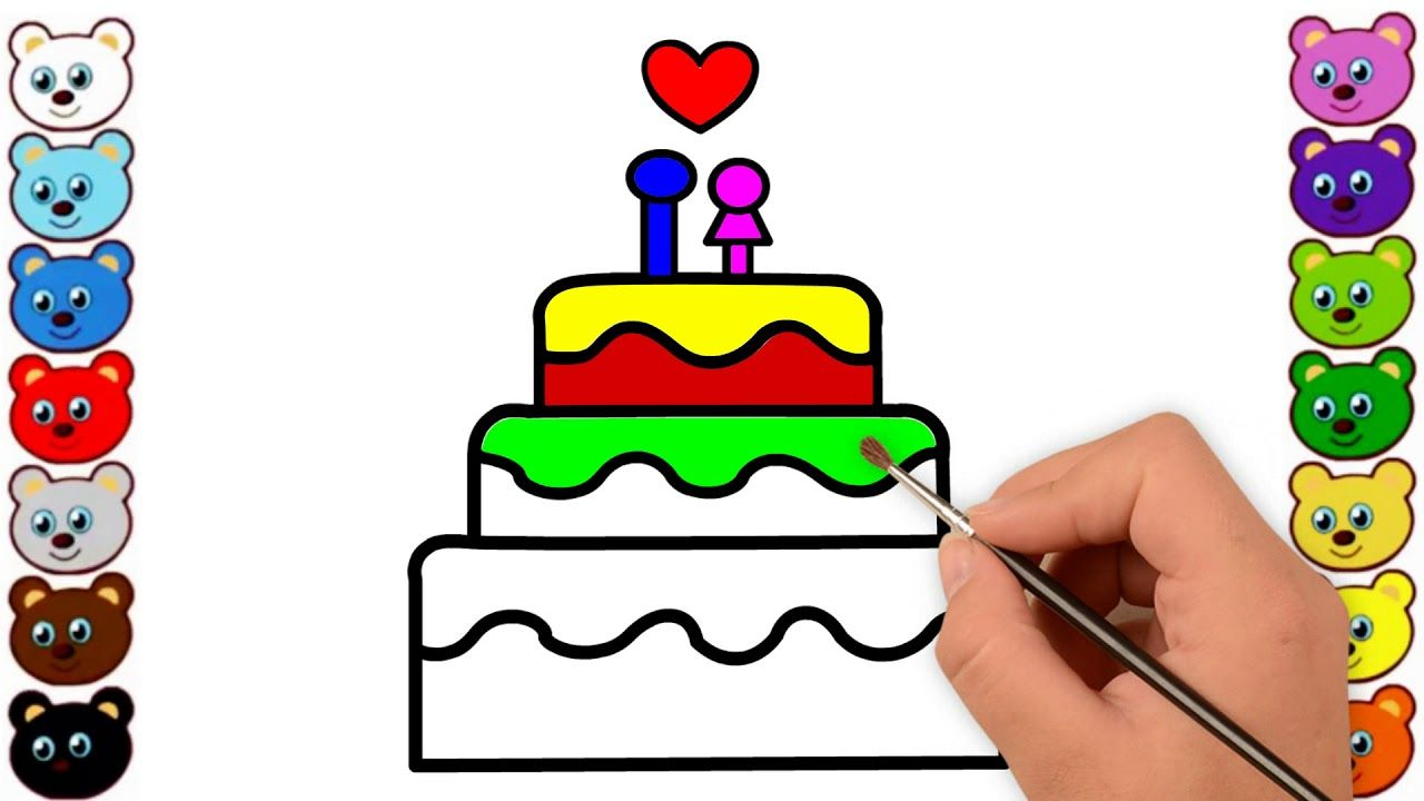 Birthday Cake Drawing And Coloring For Kids Children Learn