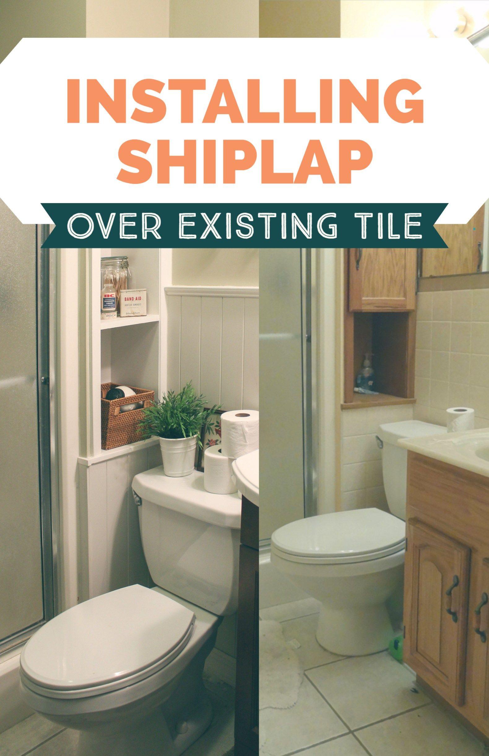 300 Bathroom Remodel Installing Shiplap Or Paneling Over Tile Installing Shiplap Shiplap Bathroom Shiplap