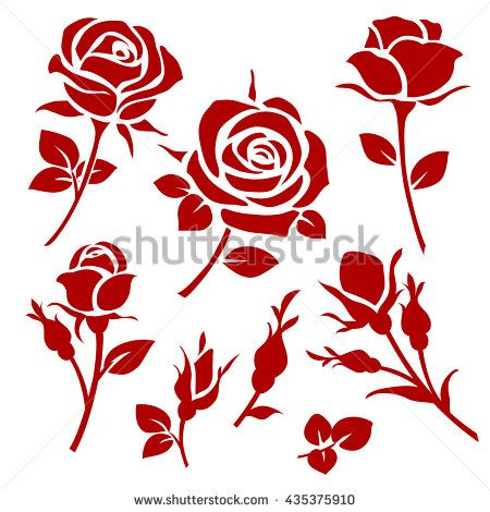 Vector rose icon spring decorative rose and bud silhouettes rose vector rose icon spring decorative rose and bud silhouettes voltagebd Gallery