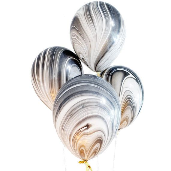 Balloons here are all grown up! These upscale balloons feature a beautiful Agate marbleized pattern in shades of black and white. Rock the mineral trend