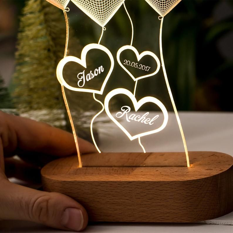 Cadeau Personnalise De Lampe 3d Dillusion Pour Elle Cadeau Etsy Customized Couple Gift Couple Gifts 3d Night Light
