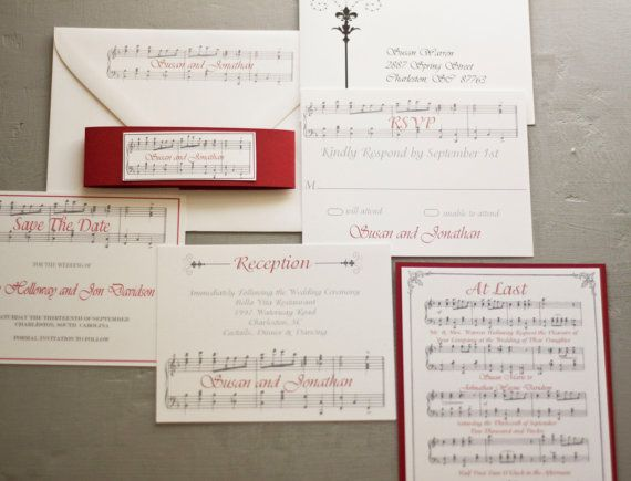 Items Similar To Vintage Style Romantic Music Notes Wedding Invitation By Forget Me Knot Paperie On Etsy