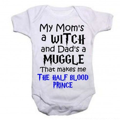 HARRY POTTER Dads a MUGGLE Mums a WITCH Baby Bodysuit//Grow//Vest Newborn Gift