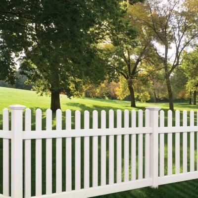 Veranda Kettle Straight 4 Ft H X 8 Ft W White Vinyl Un Assembled Fence Panel 73011897 The Home Depot Backyard Fences White Garden Fence Fence Styles