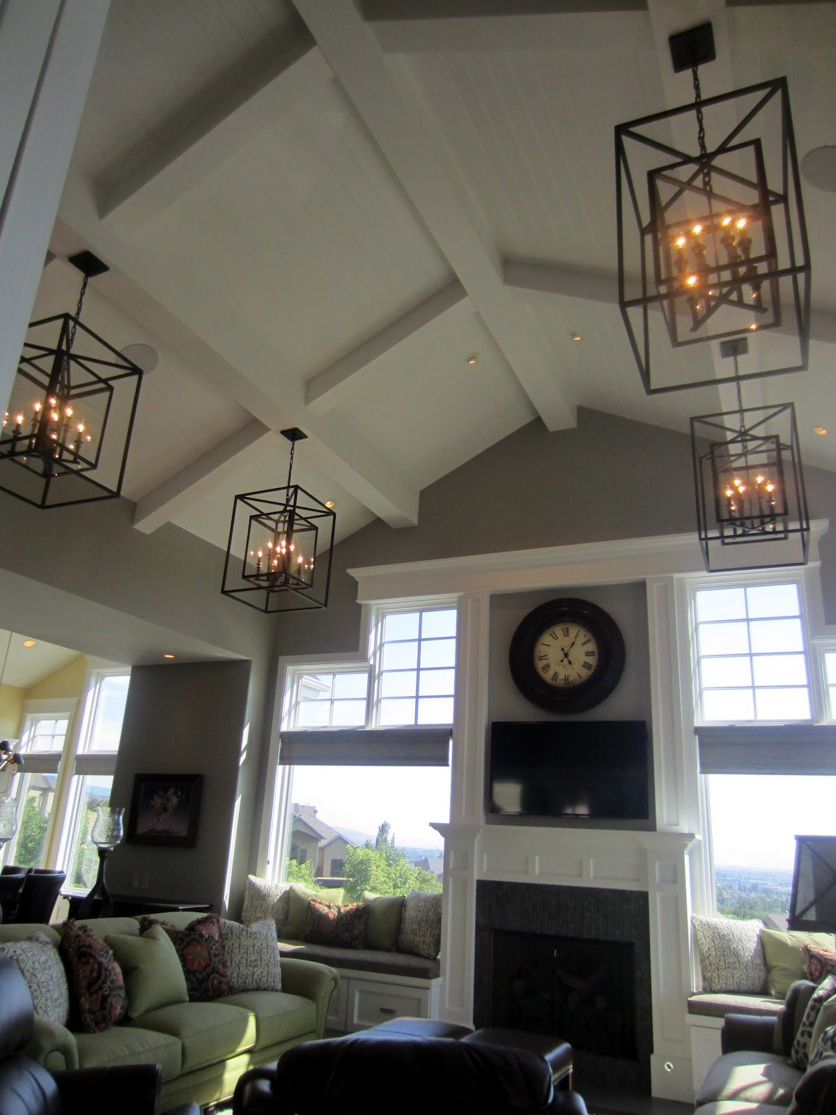 Love The Ceiling And Light Fixtures Vaulted Ceiling Living Room Chandelier In Living Room Living Room Ceiling