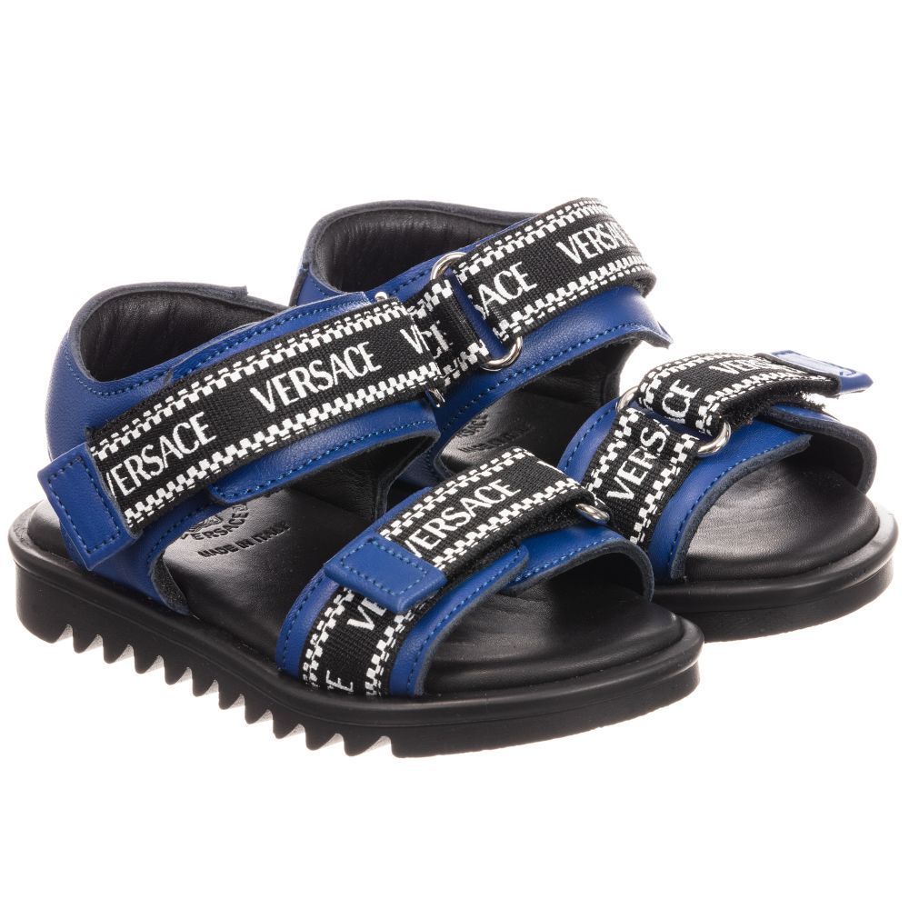 Blue and black sandals for little boys
