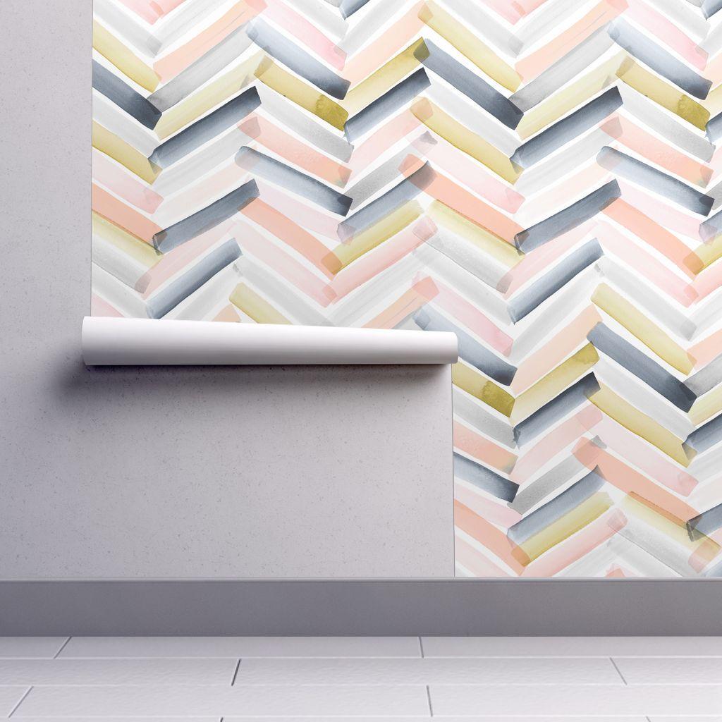 Colorful Fabrics Digitally Printed By Spoonflower Chevron Blush Navy Chevron Wallpaper Wallpaper Online Temporary Wallpaper