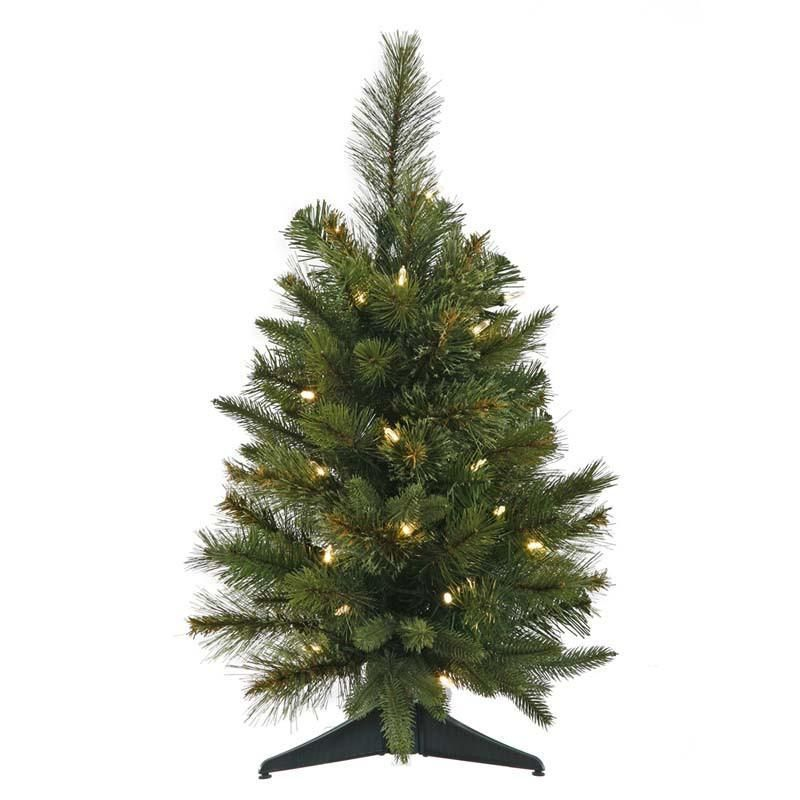 """Vickerman A118225 24"""" Cashmere Pine Tree with 76 Tips, UL 50 Dura-Lit Clear Lights, In Green Plastic Pot, Dia: 21"""""""