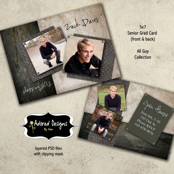 Guy graduation announcement photoshop template card one for Free senior templates for photoshop