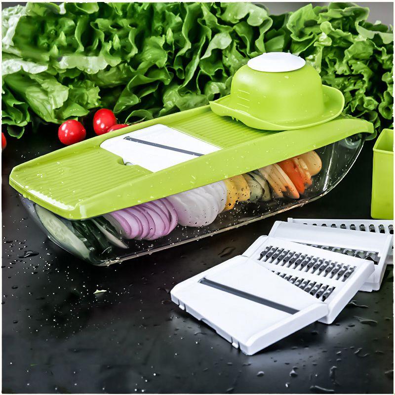 Barato Mandoline Slicer Cortador De Legumes Manual Com 5 Laminas