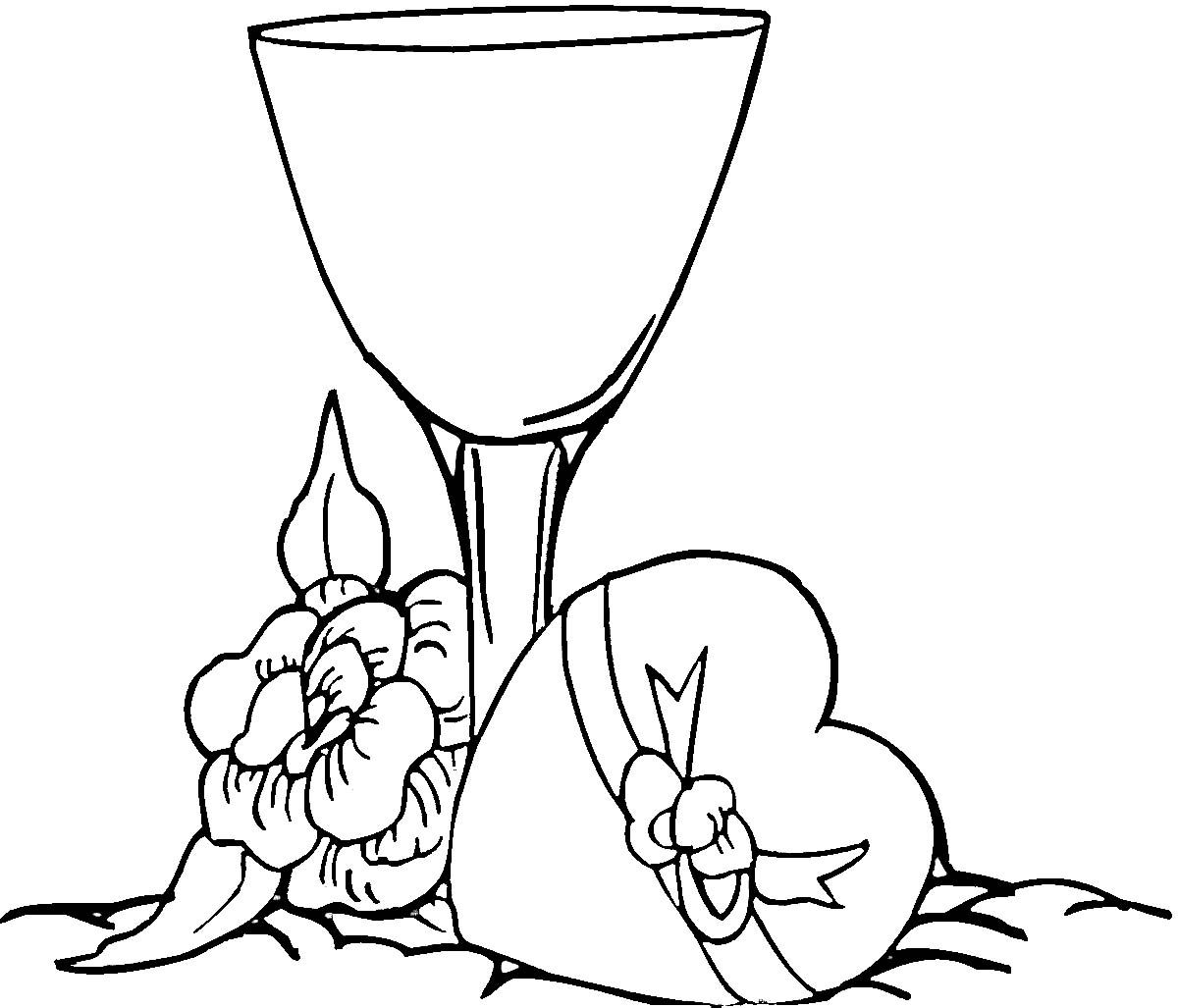 Wine And Chocolate Coloring Pages Valentines Day Coloring Free