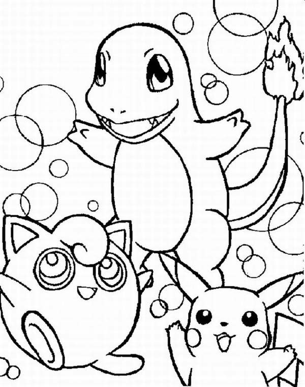 Wigglytuff Charmander And Pikachu Legendary Pokemon Coloring Page