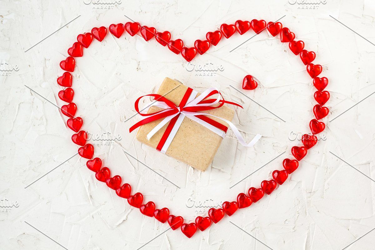 Valentines Day Candy Hearts Marshmallows And Box Of Gifts In Craft Paper Over White Wooden Background In 2020 Crafts Heart Candy Paper Crafts