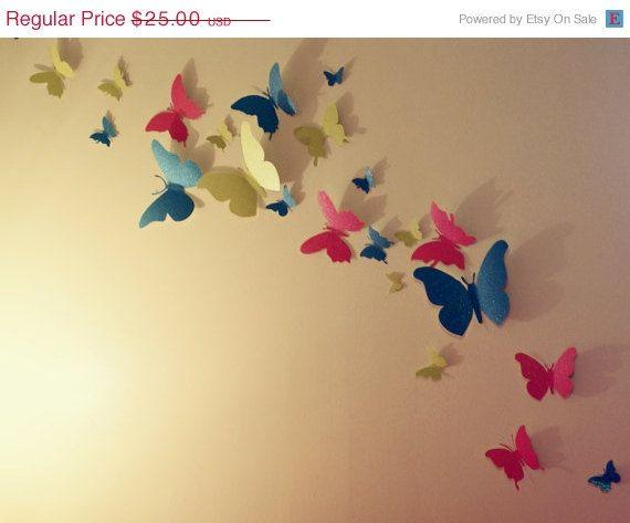 Fall Blowout SALE 30 GLITTER 3D Butterfly Wall Art Circle Burst ...