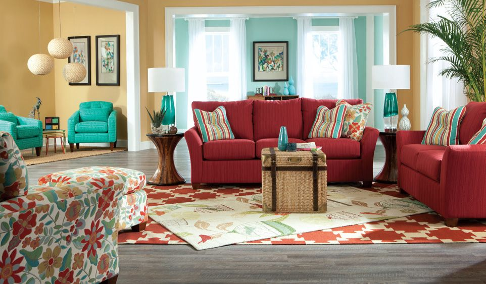 Boracay Banana Bark End Table By La Z Boy Red Couch Living Room Red Sofa Living Room Turquoise Living Room Decor
