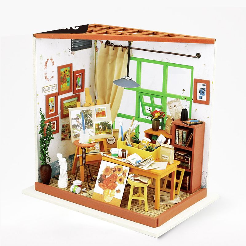 3D House Handmade DIY Tiny Furniture Miniature Wood Dollhouse Studio Drawing