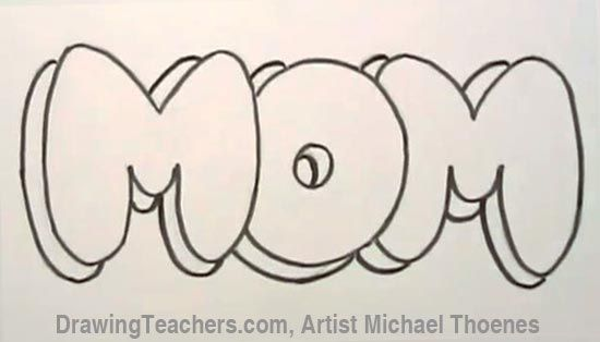 Draw Mom In Bubble Letters With Images Bubble Drawing