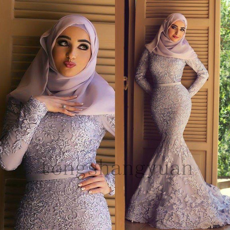 Long Sleeve Mermaid Bridal Gowns Dubai Muslim Applique Arab Celtic ...