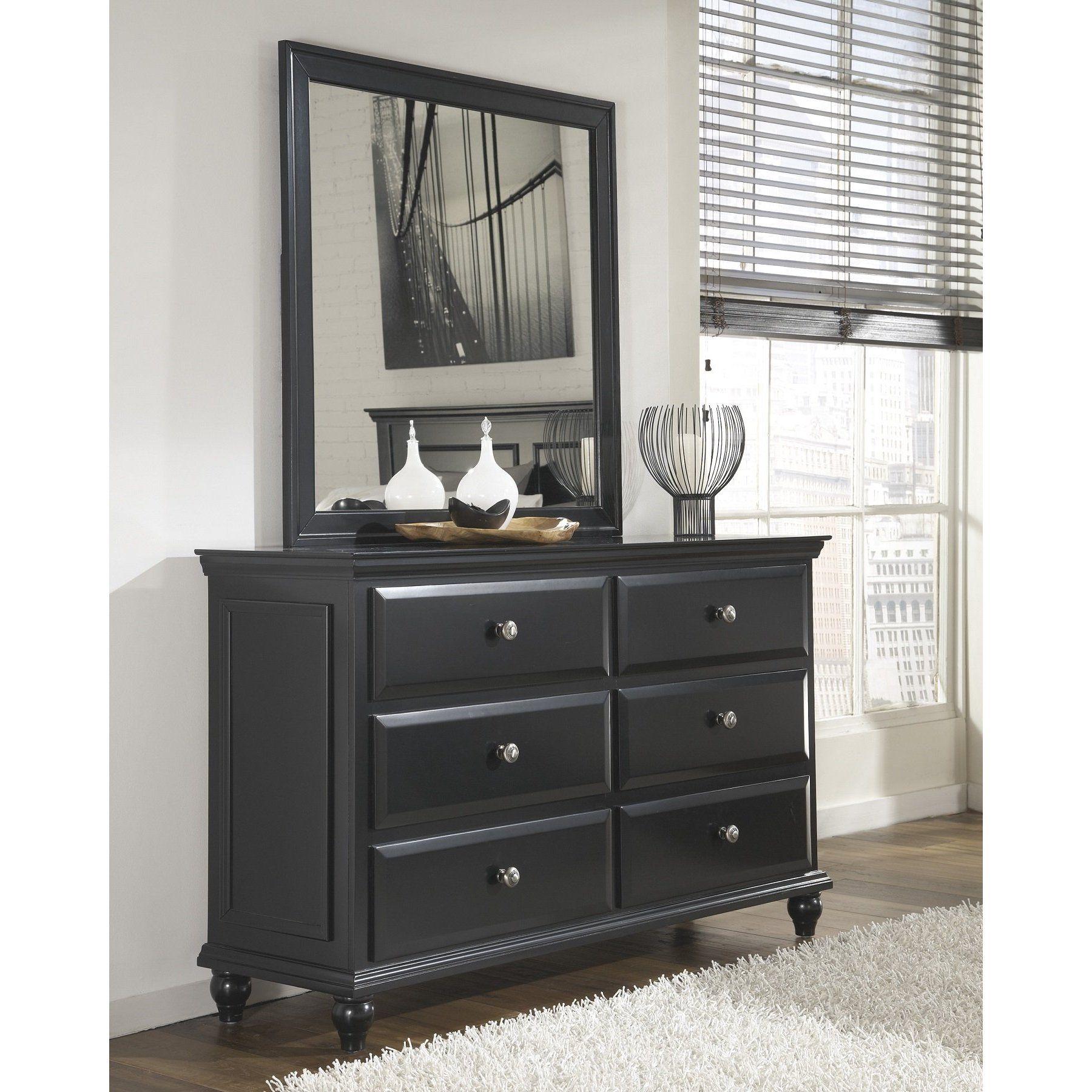 FurnitureMaxx Rustic Black Dresser Mirror Dressers