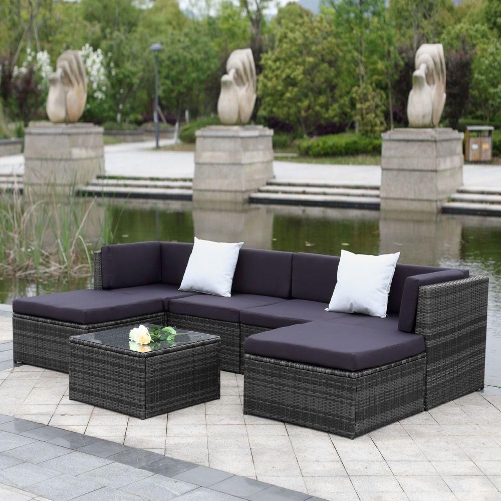 Outdoor 7pcs Set Rattan Patio Garden Furniture Furniture Sofa