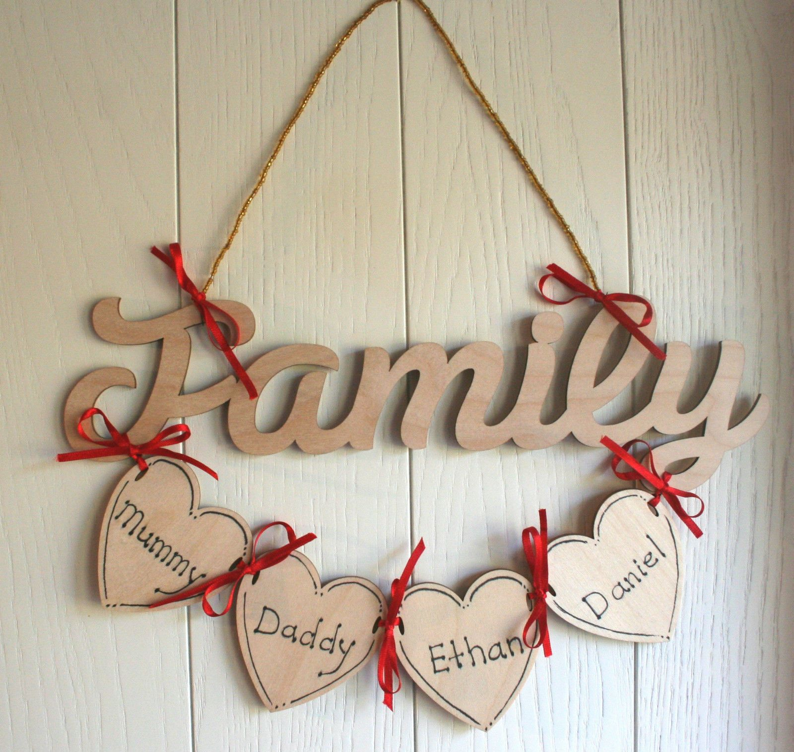 Wooden Plaque With Personalised Wooden Hearts Lovely Family Gift Or A Gift For Someone Else Personalised Wooden Gifts Wooden Hearts Christmas Crafts For Gifts