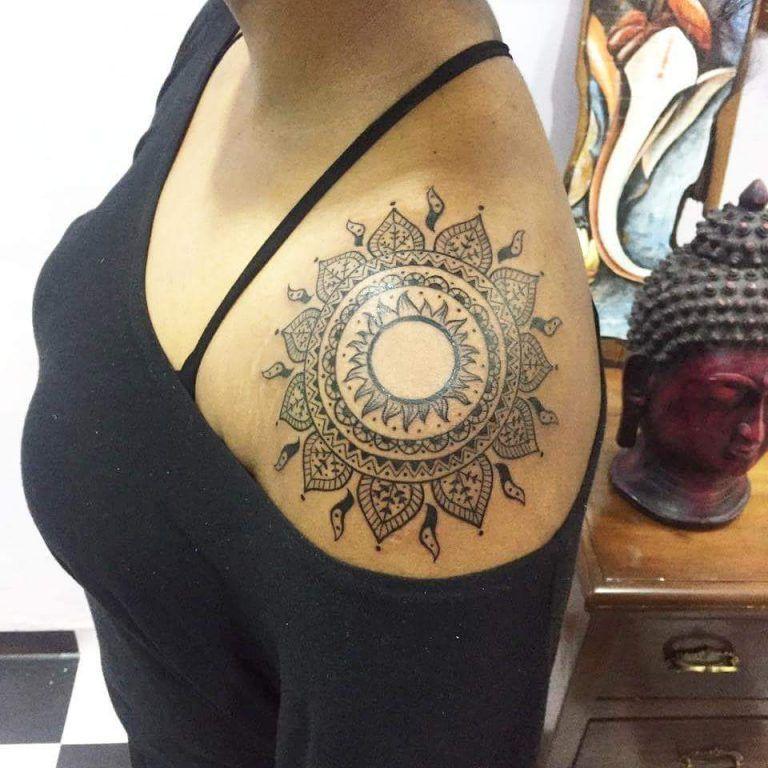 45 Creative Mandala Tattoo Designs You Would Fall In Love With Mandala Tattoo Design Sun Mandala Mandala Tattoo Shoulder