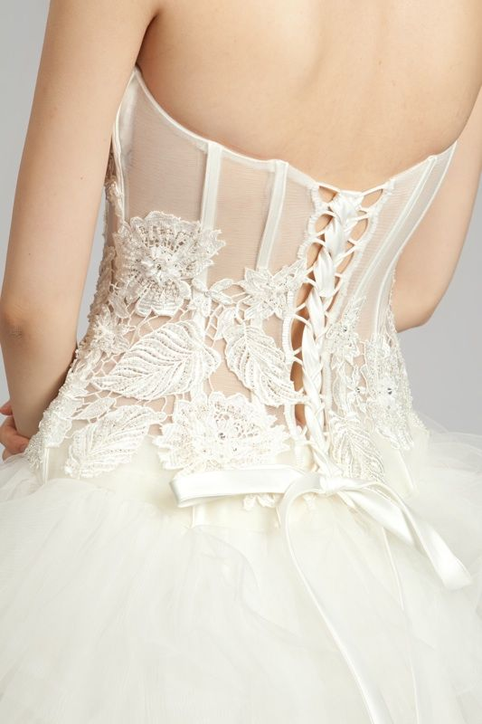 Dramatic Two-Piece Wedding Gown- Sweetheart Lace Corset and Tiered ...